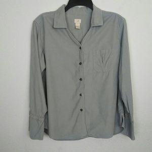 J.JILL Gray Corduroy Shirt Pinwale Lace Side Slits